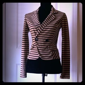 Poetry Lightweight Black and Camel Striped Blazer